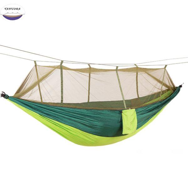 Hamac moustiquaire et accessoires vert kaki et vert foncé