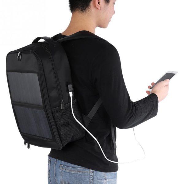 Sac à dos avec chargeur solaire intégré et prise USB