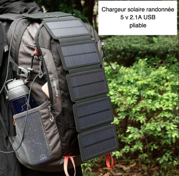 Chargeur solaire randonnee 5-v-2-1a usb pliable