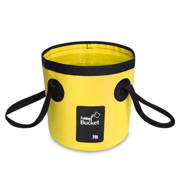 Seau d'eau pliable jaune de 20 litres