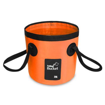 Seau d'eau pliable orange de 12 litres