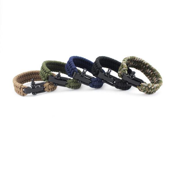 Bracelet paracorde réglable 3 crans avec manille différents coloris
