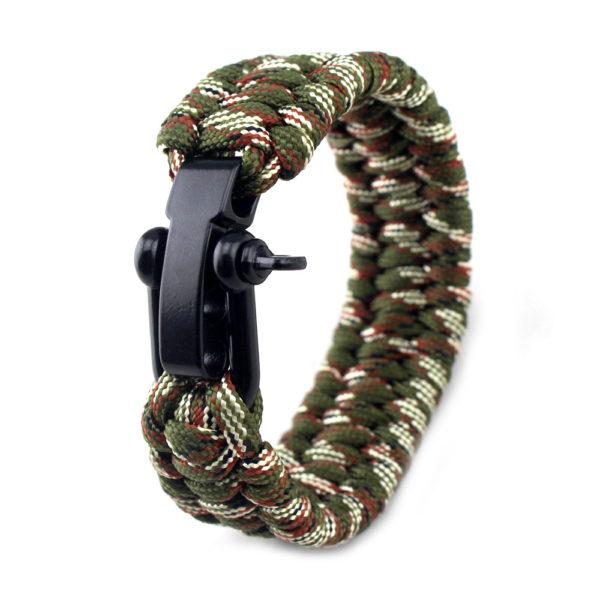 Bracelet paracorde réglable couleur camouflage